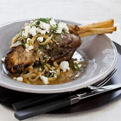 Slow Cooker Lamb Shanks with Lemon, Dill and Feta | This classic dish goes well with a lemon-inflected, herbal Greek white.