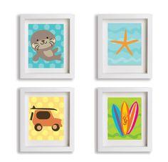 Especial para quarto de uma menina - Tema Foca no surf #ilustração #babynursery #baby #girl #surf #VivianePriscinval