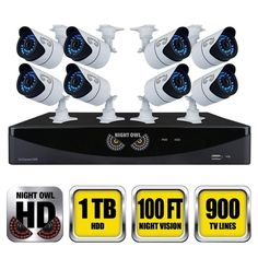 Night Owl 16-Channel Video Security System with 8 Hi-Resolution 900TVL Bullet Cameras