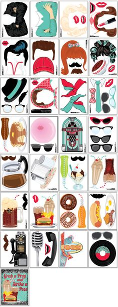 1950s Party Photo Booth Props Set 20 Piece Printable Rock N