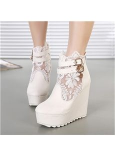 Solid Color Lace Wedge Heel Short Boots