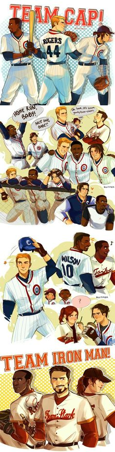 civil war where everything is the same except team cap/team iron man are rivaling baseball teams!!! this was so fun to make like you guys don't even KNOW, this was shamelessly inspired by sports animes everyone gets along except steve and tony who take their rivalry too seriously << awesomw
