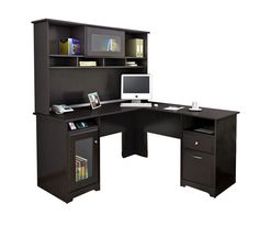 Bush Furniture Cabot L Shaped Desk With Hutch Espresso Oak Standard Delivery by Office Depot & OfficeMax