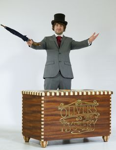 One of our 2013 graduates, clowning around with his beautifully handmade 'box of tricks'!