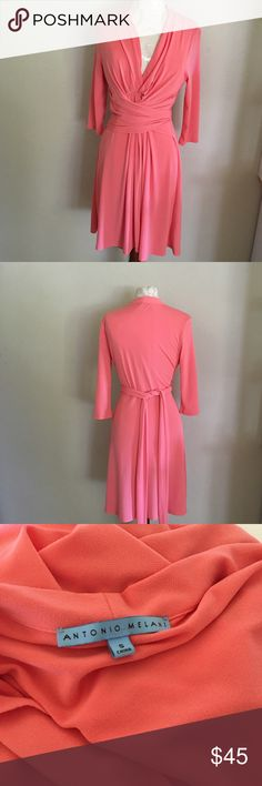Antonio melani wrap dress Beautiful wrap dress! Like new condition! Stretchy material very flattering style and lovely bright summer color! ANTONIO MELANI Dresses