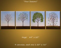 Items similar to Original Large 4 piece Painting Modern Contemporary Trees Seasons . Four Seasons, by Amy Giacomelli on Etsy Rainbow Wall, Hand Painted Canvas, Original Paintings, Tree Paintings, Large Painting, Large Wall Art, Four Seasons, Wall Art Decor, Modern Contemporary
