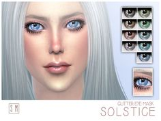 An enchanting set of glittery eyes in 9 natural shades.  Found in TSR Category 'Sims 4 Female Skin Details'