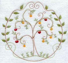 A quick stitch fruit tree machine embroidery design circle.