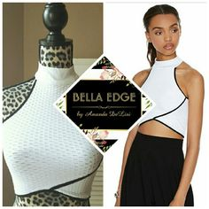 White black mesh crop top Brand new, from style brand Whitney Eve. 92% nylon, 8% spandex. White honeycomb style perforated fabric, with black lining/piping. Size XS/S, fits bust sizes 30-32, even a small 34 as it is stretchy. Halter neck.  Price FIRM unless bundled. Whitney Eve Tops Crop Tops
