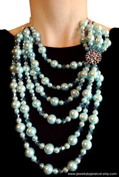 VINTAGE Statement Necklace, Antique, Aqua, Broach, Multi-strand, Mod, Blue, Crystal, Pearls, Jewelry by Jessica Theresa via Etsy