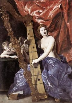 Venus Playing the Harp (Allegory of Music)    Artist: Giovanni Lanfranco