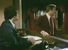 The desk clerk and Alan, 1975: