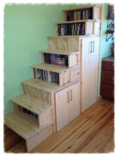 these are the stairs I made going to the loft.  It gives us a bunch of storage.  simplyhomenc.com