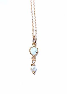 """DIAMOND PEARL DROP NECKLACE by JULIA SZENDREI Beautiful diamond slice styles pair with a white tiffany fresh water pearl. Set on 14k gold filled chains 18"""" with approximately 1"""" pearl drop. Shop now www.juliaszendrei.com"""