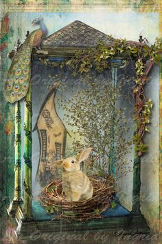 Bunny Nest Digital Collage Greeting Card (Suitable for Framing)