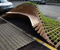 A beautiful outdoor design for an outdoor bench //