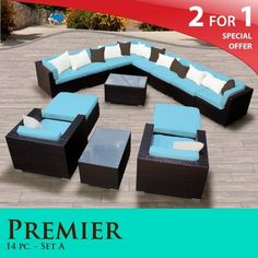"Premier Outdoor Wicker 14 Piece Patio Set Tropical Blue Covers -14A by TK Classics. $2774.00. Affordable and comfortable Modular Furniture allows for endless arrangement possibilities. 4"" Welted cushions for a luxurious look and feel. Fully Assembled - ready to relax and enjoy. ""No Sag"" solid wicker bottoms with extra flexible strapping providing long-lasting suspension. Versatile design for ANY patio size. 2 for 1 Special: Purchase 1 of our Classic Patio Sets and receive a ..."