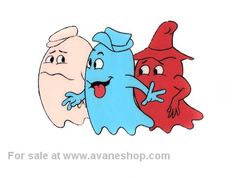 Pac Man Cartoon Cel Ghosts Hand Painted Animation Cel Vintage Pacman - Click Image to Close
