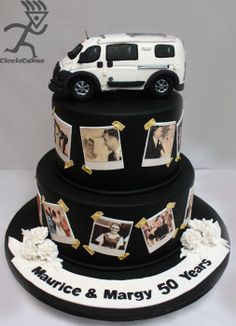 Old photo Album look with Edible motohome topper - by Ciccio @ CakesDecor.com - cake decorating website