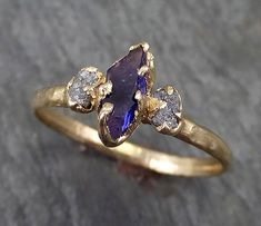 Partially Faceted Sapphire Raw Multi stone Rough Diamond yellow Gold Engagement Ring Wedding Ring Custom One Of a Kind Violet Gemstone Ring Three stone Shop Engagement Rings, Rose Gold Engagement Ring, Vintage Engagement Rings, Diamond Wedding Bands, Sapphire Wedding, Raw Gemstone Ring, Rough Diamond, Bridal Rings, Gold Rings