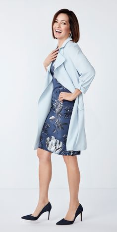 Blue on blue and a soft trench are two must-have trends this season! Summer Work, Spring Summer, Lightweight Jacket, Business Casual, Trench, High Neck Dress, My Style, Jackets, Blue
