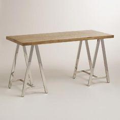 Natural Wood and Chrome Colton Mix & Match Desk | World Market
