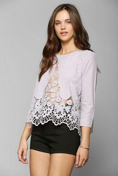 cb30a8fa9864 Alexis Sue Lace Blouse In Pink Lyst Urban Outfitters