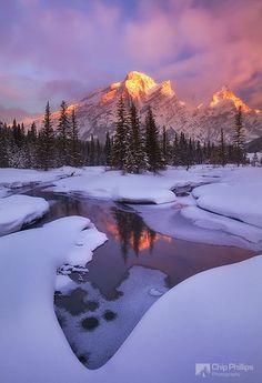 Mount Kidd...A winter sunrise in Kananaskis Country, Alberta.