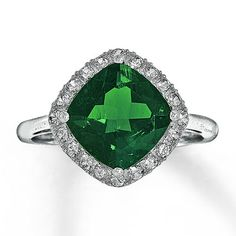 Lab-Created Emerald Ring Lab-Created Sapphires 10K White Gold