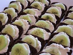 Easy Cucumber Sandwiches- Italian dressing mix, cream cheese, mayo, loaf of party pumpernickel, cucumber and dill weed.