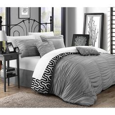 Lester 11 Piece Bed in a Bag Comforter Set by Chic Home Silver - CS2823-BIB-HE