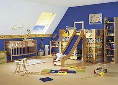 Denim Blue Walls With Woody Furnishing Ideas