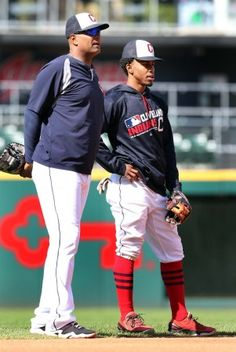 Cleveland Indians first base coach Sandy Alomar Jr. and shortstop Francisco Lindor, during batting practice before the game against the Minnesota Twins at Progressive Field on May 13, 2016. Indians won 7-6 (Chuck Crow/The Plain Dealer)