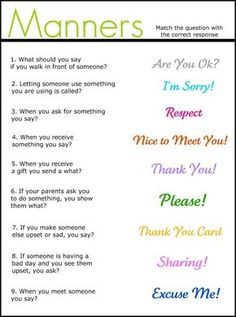 Manners matching worksheet - repinned by @PediaStaff – Please Visit ht.ly/63sNt for all our pediatric therapy pins