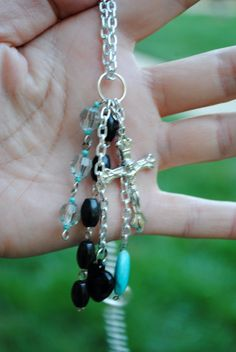 Turquoise and Black Dangling Charm Necklace by Eighty3Accessories, $14.00