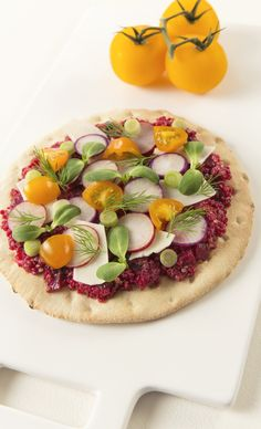 Looking for a fancier way to serve pizza? Here, we plated a unique recipe – Toast or heat Nan flatbread, and top with beet-infused quinoa. Add your favorite toppings like parmesan cheese, tomatoes, radishes, and sprouts! Slice, serve, and enjoy! Inspired by the movie Burnt in select theaters October 23 and everywhere October 30!