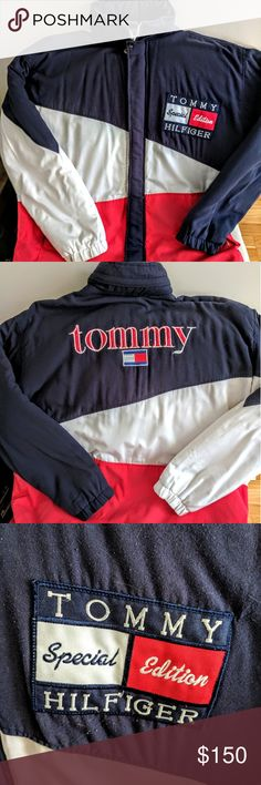 Tommy Hilfiger coat Tommy Hilfiger padded coat with cotton fleece lining, ultimate 90's icon piece. In XXL. This coat is AMAZING, but please note the photos. There are two small spots on the back at the bottom, that will not come out, and the coat was definitely well loved and worn. To me that makes no difference if you can own this rare find! I had it freshly dry cleaned and repaired both pockets there as well, stitching was coming loose. Tommy Hilfiger Jackets & Coats Lightweight & Shirt…