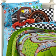 Race Cars Racetrack Boys Twin Comforter Set by Creative Kids. For my little racer's room. Race Car Bedroom, Kids Bedroom, Bedroom Ideas, Bedroom Decor, Hot Wheels Bedroom, Toddler Car Bed, Bed Ensemble, Full Comforter Sets, Boy Room