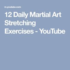 12 Daily Martial Art Stretching Exercises - YouTube