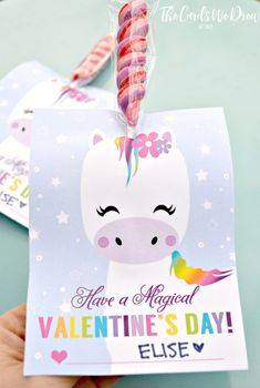 This Magical Unicorn Valentine comes with a free print and instructions on how to create a super cute Valentine inexpensively! Unicorn Valentine Cards, Kinder Valentines, Homemade Valentines, Valentines Day Party, Valentine Crafts, Valentine Day Cards, Valentine Ideas, Holiday Crafts, Printable Valentine
