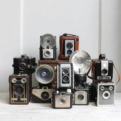 cool old collection of cameras. Would look killer on top of my bookcase