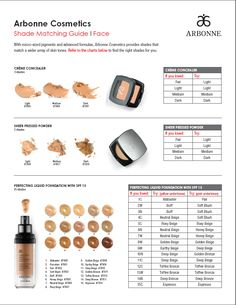 Arbonne's Shade Matching Guide. Arbonne  Pure, Safe, Beneficial products for your everyday needs!