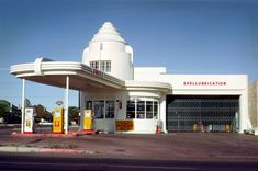I took this photo using a Argus C3 camera in September 1968. The gas station was/is located on Stone Avenue in Tucson Arizona. A classic Deco style temple for the automobile. I digitized the Kodachrome slide using a Nikon Coolscan 5000 slide  scanner.