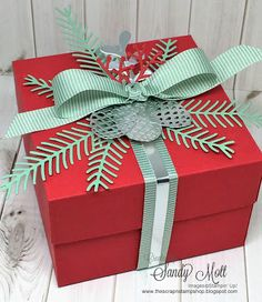 A trio of Christmas boxes and a Tutorial to make custom sized boxes - created by Sandy Mott - The Scrap n' Stamp Shop