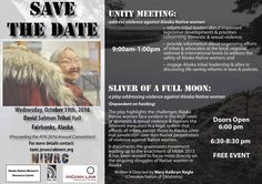For the first time ever, #SliverOfAFullMoon @MKNAGLE will travel to Alaska! Oct 19 at #AFN @AFN_Updates @niwrc #VAWA