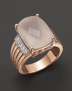 Moonstone and Diamond Ring in 14K Pink Gold, .14 ct. t.w.