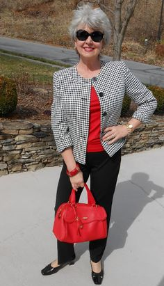 This jacket was purchased from a sale rack at Stein Mart. I also had a coupon that took 50% more off of the sale price. It cost me about $19! The tank top was also from the same shopping day it was about $3.50. The pants are from the end of season sale at Talbots.The Tahari handbag is from T.J. Maxx.