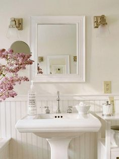 French country bathroom decor french country decorating with tile french country cottage cottage french country bathroom Cottage Bathroom Inspiration, Cottage Bathroom Design Ideas, Bathroom Interior, Bathroom Designs, Cozy Bathroom, Mirror Bathroom, Bathroom Vanities, White Bathroom, Wainscoting Bathroom