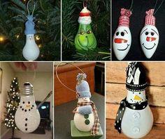 Snowman made with light bulbs