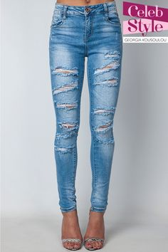 Laura Light Ripped High Waisted Jeans at Misspap.co.uk
